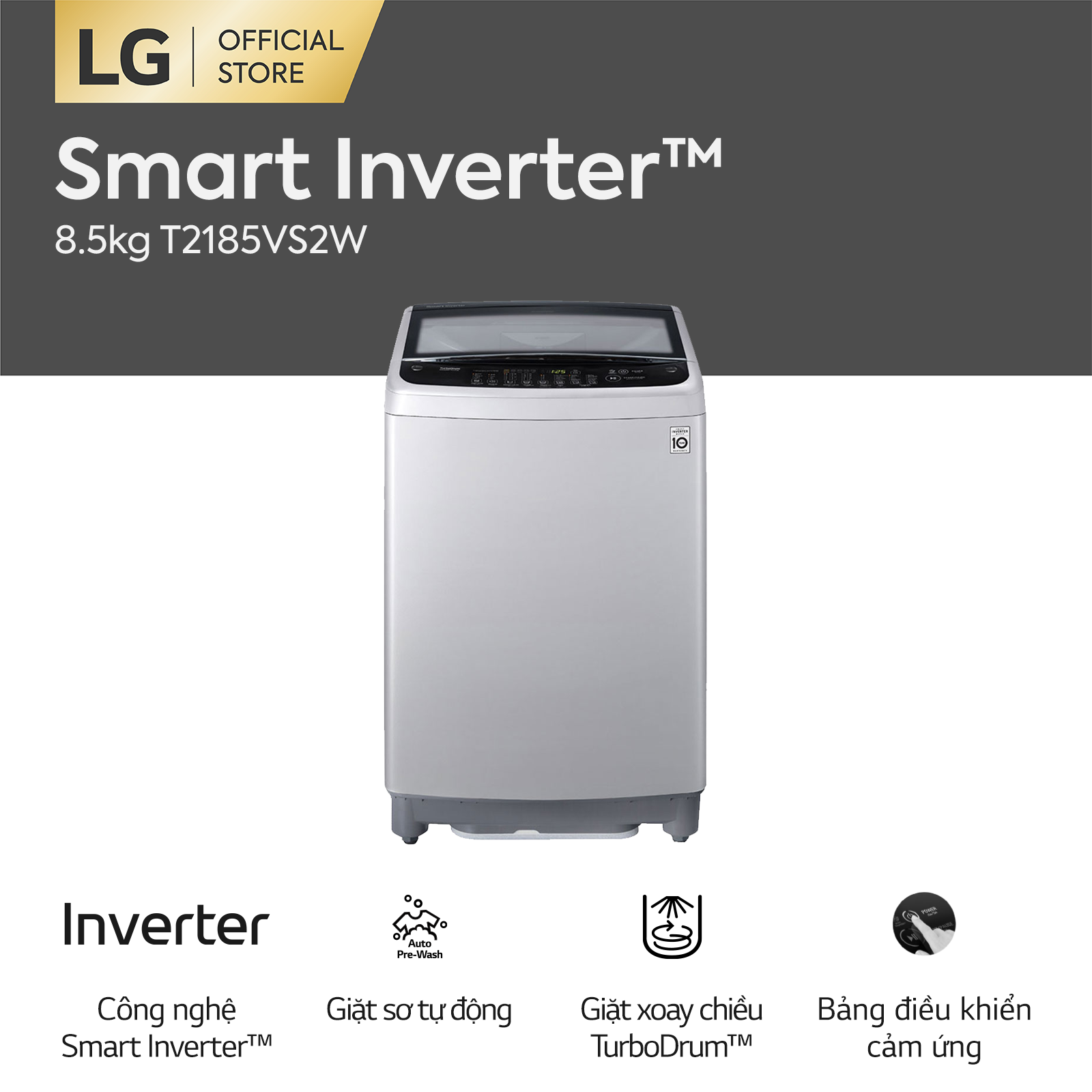 [FREESHIP 500K TOÀN QUỐC] Máy giặt lồng đứng LG Inverter T2185VS2W 8.5kg – Hãng phân phối chính thức