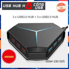 Bộ Chia 6 Cổng USB, USB Hub 3.0 Đẹp Tiện Dụng Hình Lục Giác Có Đèn Led Báo Hiệu