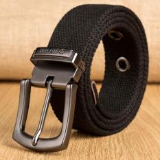 Thắt lưng nam vải bố , dây nịt nam vải bố chất liệu navas đầu kim lọai đen bóng dài 120cm .