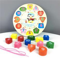 [Sale off 50%] Đồng hồ Gỗ xếp hình (Kèm dây xâu chuỗi hạt) – Đồ chơi gỗ Smart Baby- 003