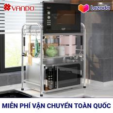 [𝗙𝗿𝗲𝗲𝗦𝗵𝗶𝗽 𝟭𝟬𝟬%] Giá kệ Inox 304 để lò vi sóng, nồi cơm điện, để gia vị đồ nhà bếp VANDO