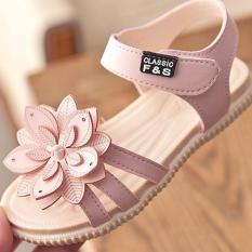Dép sandal bé gái SIZE LỚN 31- 36 đính hoa kép kiểu dáng dép xăng đan quai dán đế mềm êm chân cho bé gái từ 2-10 tuổi Dép quai hậu