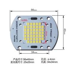Chip led philips lumileds inside 32v-50w – 1500ma , kèm holder chụp nhựa