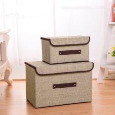 Combo 2 hộp vải đựng đồ thùng đựng quần áo đồ chơi, mĩ phẩm đa năng bằng vải cứng cắp có nắp đậy tiện dụng siêu đẹp
