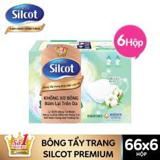 [Tặng Cọ Silcot rửa mặt & massage 2in1 và Ví hologram Silcot] Bộ 6 Hộp bông trang điểm cao cấp Silcot Premium 66 miếng/hộp
