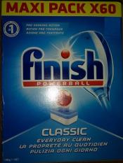 Viên rửa chén ly Finish hộp 60 viên chuyên dùng cho máy rửa chén ly(viên tổng hợp 3 trong 1 ) Muối, nước làm bóng chất làm sạch