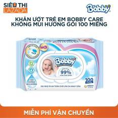 Khăn ướt trẻ em Bobby Care không mùi hương gói 100 miếng