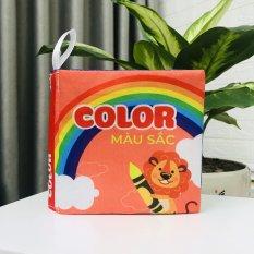 Sách vải kích thích thị giác – Đồ chơi treo xe đẩy, treo cũi cho bé – Sách song ngữ Anh – Việt
