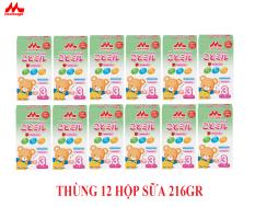 Thùng 12 hộp Sữa Morinaga Số 3 Kodomil 216g Cho Bé Từ 3 Tuổi – Hương dâu date 30.09.2021 (không tem đổi quà)