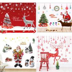 Decal trang trí giáng sinh trang trí noel Ông già noel người tuyết túi quà và dòng chữ merry christmas TỔNG HỢP CÁC MẪU Sticker