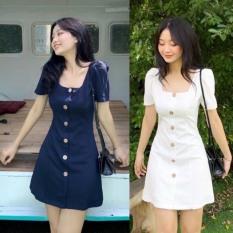 (Kèm video) Đầm dáng xòe cổ U phối 6 nút hot trend Hàn Quốc, vải thun co giãn phù hợp mọi vóc dáng, có size to