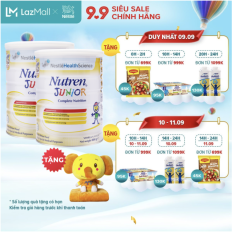 Bộ 2 lon Sản phẩm dinh dưỡng y học 2 lon Nutren Junior cho trẻ từ 1-10 tuổi 800g + Tặng bộ gối mền con voi