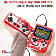 [Máy + tay cầm] Bộ Máy Chơi GameSup và Tay Cầm Chơi Game 2 Người 400 Game In 1 TY01-BO – Tích hợp sẵn 400 games kinh điển Mario,Contra,Tank – Máy chơi Game 4 nút cầm tay Kết nối TV – Smart247