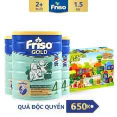 [Freeship toàn quốc] Bộ 3 lon sữa bột Friso Gold 4 1.5kg + Tặng Tàu lắp ghép