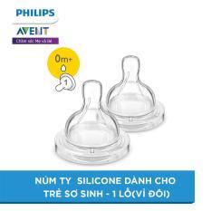 Núm ty Silicone dành cho trẻ sơ sinh – 1 lỗ(vỉ đôi) SCF631/27