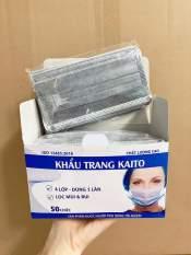khẩu trang y tế KAITO 4 lớp Than Hoạt Tính hộp 50 cái 1 hộp vải không dệt, mềm, mịn, có giấy chất lượng ( Xám )