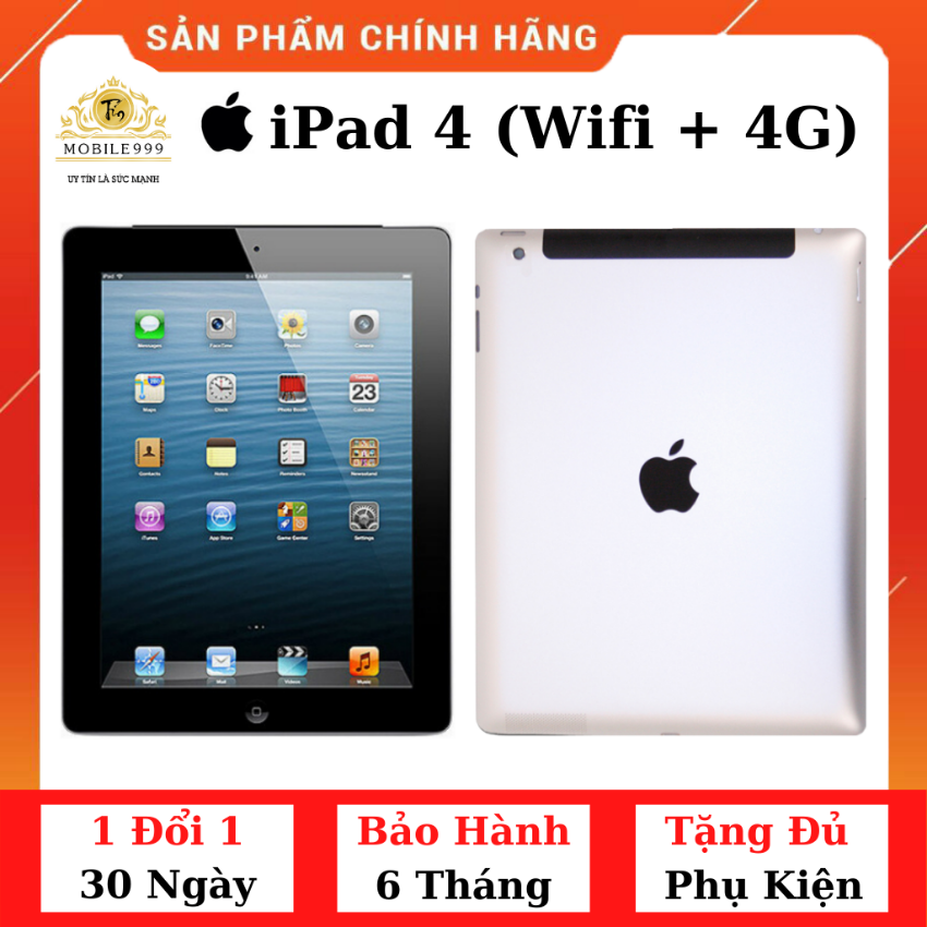 iPad 4 (Wifi + 4G) 16G /32G /64GB Chính Hãng – Zin Đẹp – Màn Retina siêu đẹp – Pin cực bền với 11.560 mAh – Tặng phụ kiện + Bao da – 1 đổi 1 30 ngày – BH 6 tháng – MOBILE999
