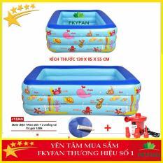[ CHAT VỚI SHOP NHẬN VOUCHER 40.000Đ ]LỖI 1 ĐỔI 1 có hộp [TẶNG BƠM ĐIỆN + MIẾNG DÁN ] Bể bơi cho bé , bể bơi trẻ em 3 tầng ( 130 X 90 X 55 cm ) bể bơi người lớn giá rẻ có họa tiết ngỗ nghĩnh đáng yêu,Hồ bơi dành cho trẻ em người lớn