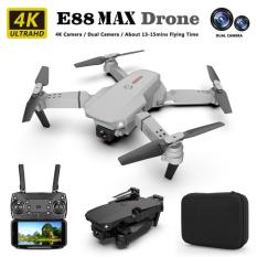 [Nhập ELAPR21 giảm 10% tối đa 200k đơn từ 99k]NEW 2021- Máy bay flycam mini E88 Max với 2 camera HD 4K truyền ảnh trực tiếp về điện thoại cân bằng độ cao ổn định khi bay