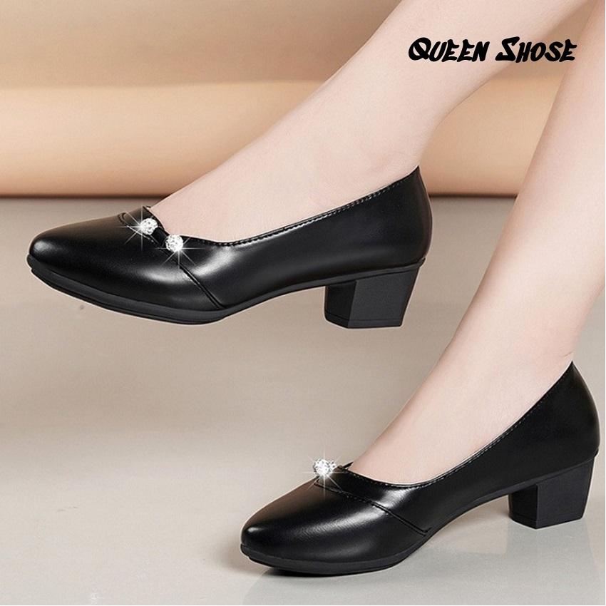 Giày búp bê nữ đính hạt ngọc đế vuông 3cm -da lỳ cao cấp - Hàng VNXK