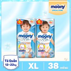 [SIZE XL] [TẶNG 6 MIẾNG TÃ TRONG GÓI] Tã quần cao cấp Moony XL – 38 miếng (12-22kg) – Phân loại: Tã quần bé trai/ Tã quần bé gái
