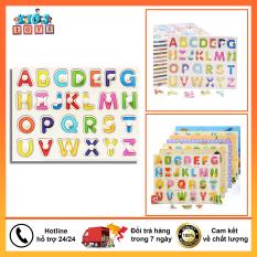 Bảng chữ cái, bảng núm gỗ xếp hình chủ đề chữ cái a-z giúp bé học tiếng anh gỗ ván dày cao cấp, hình mẫu đẹp, đầy màu sắc, an toàn cho bé