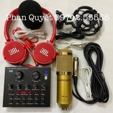Combo Bộ míc thu âm BM900 và Card V8 bluetooth chuyên dụng hát live stream với đầy đủ chức năng chỉnh giọng âm thanh