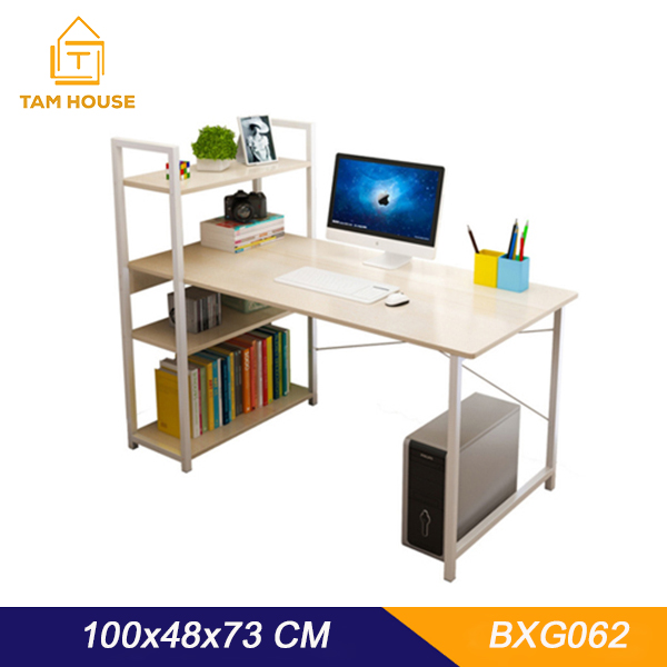 Tâm House Bàn làm việc, bàn văn phòng, bàn liền kệ đa năng (100x48cm) – BXG062