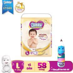 Tã dán cao cấp Bobby Extra Soft Dry size L – 58 miếng (9-13kg) – Tặng 1 gối ôm bút chì xinh xắn