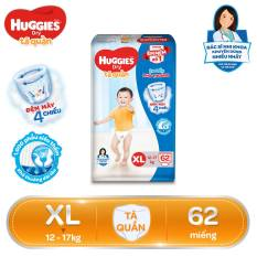 Tã/Bỉm quần HUGGIES DRY PANTS SUPER JUMBO XL62 (12 – 17kg) – Gói 62 miếng