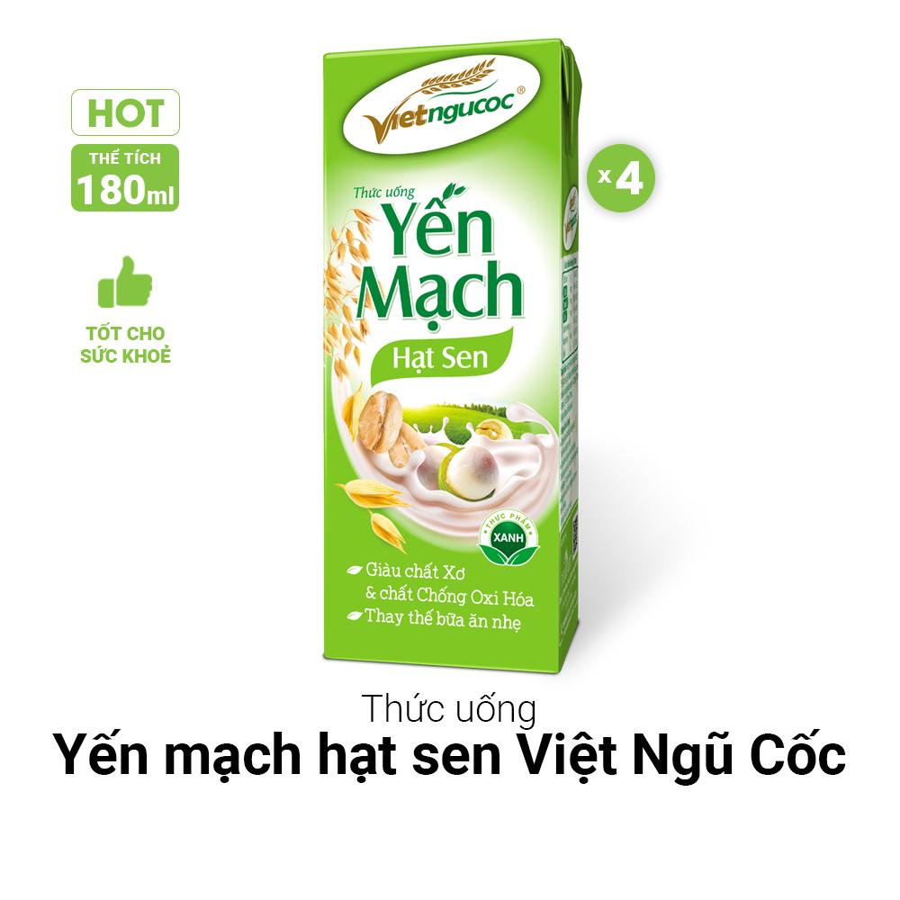 Thức uống Yến mạch hạt sen Việt Ngũ Cốc lốc 4 hộp 180ml