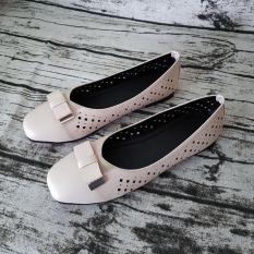 Giày Mùa Hè Nữ Giày Bệt Nữ Dáng Đẹp Dễ Thương Evelynv GB2813 (Đen – Kem)
