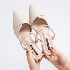 sandal nữ/ sandal cao gót nữ mũi nhọn 3cm 2 màu trắng và đen hàng hot 2020