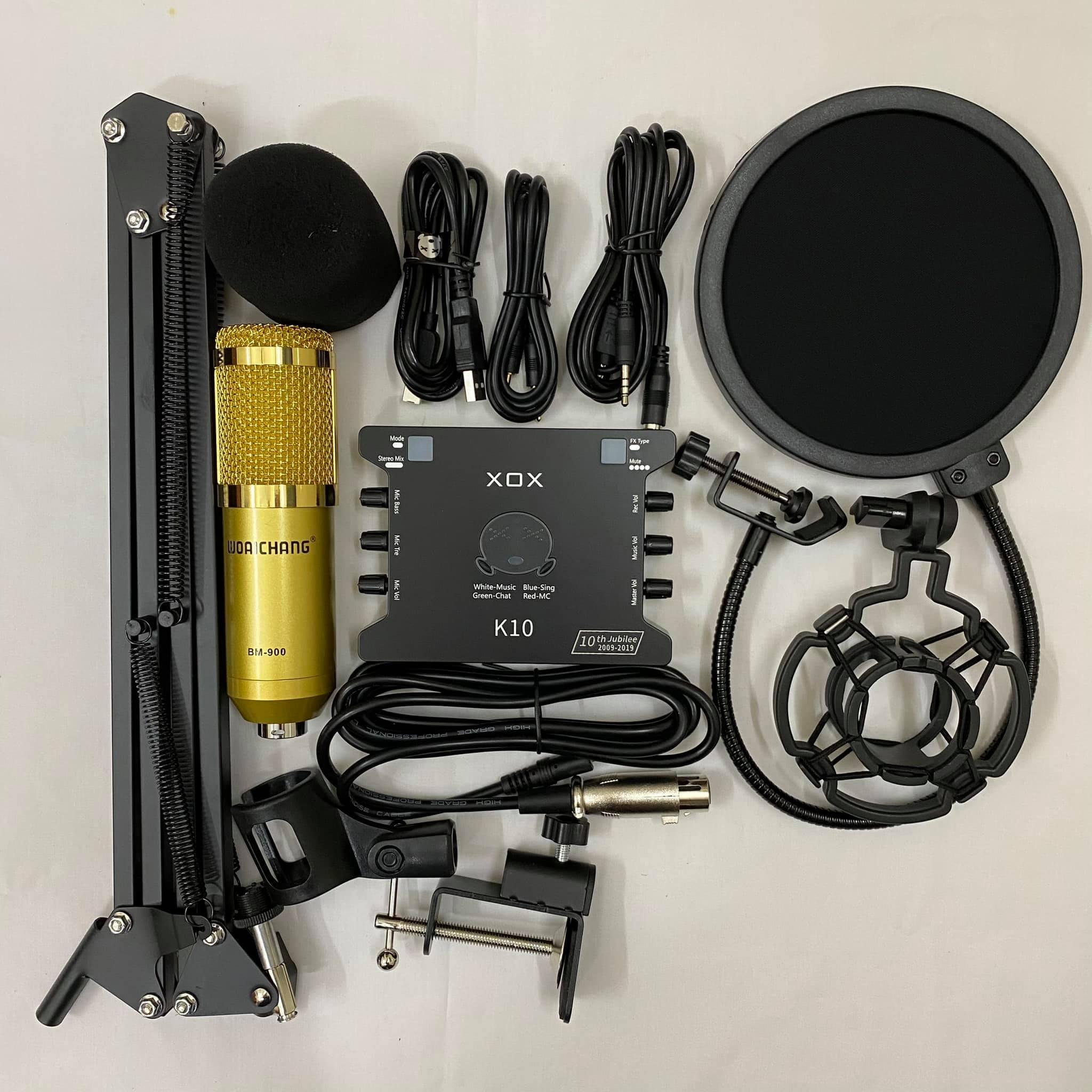 Mic thu âm livestream bm900 woaichang Sound Card XOX K10 2020 chân màng đã có dây live stream- Bộ mic...