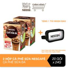 [Tặng túi wash bag] Combo 2 hộp Nescafé cà phê sữa đá (Hộp 10 gói x 24 g)