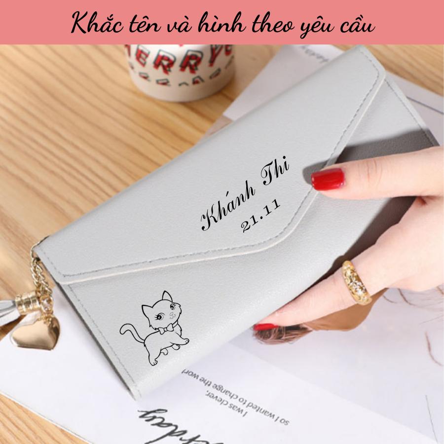 Ví bóp nữ cầm tay – ví nữ dài khắc tên theo yêu cầu – quà 20/10- quà sinh nhật- quà 8/3 – quà noel ý nghĩa cho bạn gái
