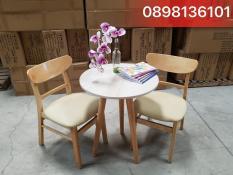 Bộ bàn cafe tròn 600 & ghế mango tự nhiên ( MH3 )