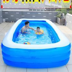 bể bơi mini gia đình, tam be boi tre em, Bể bơi phao Cỡ lớn cho bé và gia đình – Bể bơi phao 3 Tầng cỡ lớn: 250 X 150 X 55 cm loại dày ho boi danh cho em be