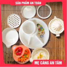 Combo ăn dặm: 1 Khay ăn dặm 4 ngăn; 1 Bộ bát ăn dặm Inomata Nhật; 1 Bộ chế biến 7 dụng cụ cho bé