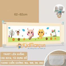 Thanh chắn giường cho bé an toàn cao cấp 1M6, 1M8, 2M, 2M2 Aachmann trượt lên trượt xuống cao 82 cm giá bán 1 thanh