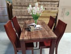 Bộ bàn ăn gỗ giả đá nâu 4 ghế cao cấp
