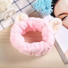 Băng đô nhung rửa mặt trang điểm tai thú Hàn Quốc dễ thương màu hồng