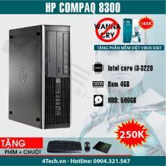 HP Compaq 8300 Intel Core i3-3220, Ram 4GB, HDD 500GB – Tặng phím, chuột, bàn di.