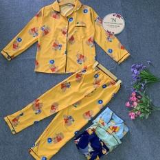 Đồ Bộ Pijama Tay Dài Vải Kate Thái Chuẩn Loại 1, CAM KẾT ĐÚNG MẪU, size dưới 60kg
