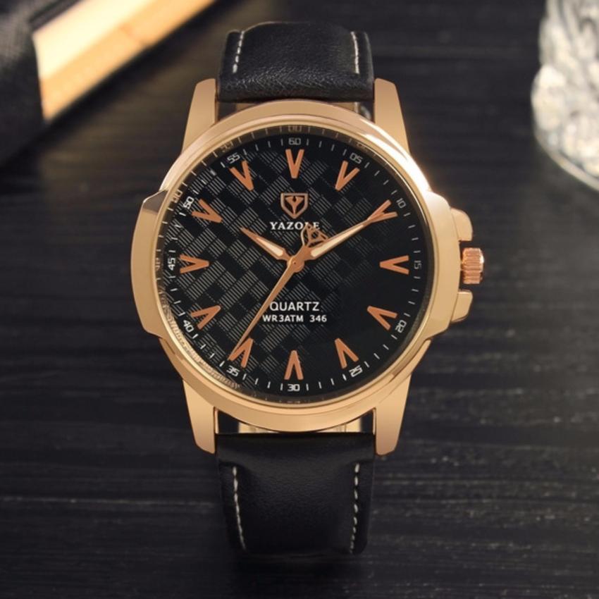 Đồng hồ nam dây da Yazole T346 NK226 (Đen)
