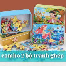 Tranh ghép hình bằng gỗ 60 miếng kèm hộp thiếc cho bé, Đồ chơi lắp ráp puzzle thông minh cho trẻ em
