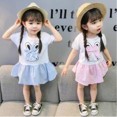 [ Váy đẹp, giá rẻ] Váy thỏ ngắn tay cho bé gái, váy đầm trẻ em gái, váy thỏ đáng yêu