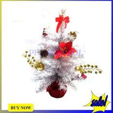 Cây Thông Noel Mini Trang Trí Giáng Sinh Cao 40cm Màu Trắng Bạc