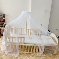 Giường cũi gỗ kích thước 1m2 kéo dài thành giường 1m6 tặng kèm đệm sơ dừa , màn ( mùng ) chống côn trùng