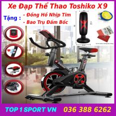 Xe đạp tập thể dục thể thao tập gym tại nhà Toshiko X9 chính hãng tặng kèm đồng hồ cảm biến nhịp tim + trụ đấm bốc – bảo hành 3 năm